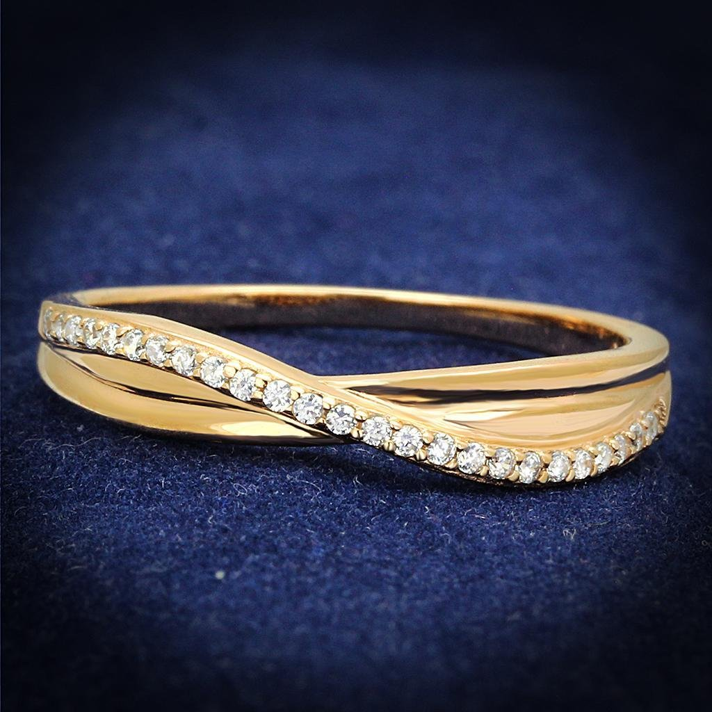 TS591 Rose Gold 925 Sterling Silver AAA Grade CZ Eternity Ring