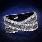TS522 Ruthenium 925 Sterling Silver AAA Grade CZ Amethyst Eternity Ring
