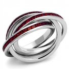 3W1333 Rhodium Brass Synthetic Glass Siam Eternity Ring