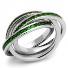 3W1332 Rhodium Brass Ring with Synthetic Glass Emerald  Eternity Ring