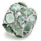 LOS764 Rhodium 925 Sterling Silver Synthetic Glass Emerald Eternity Ring