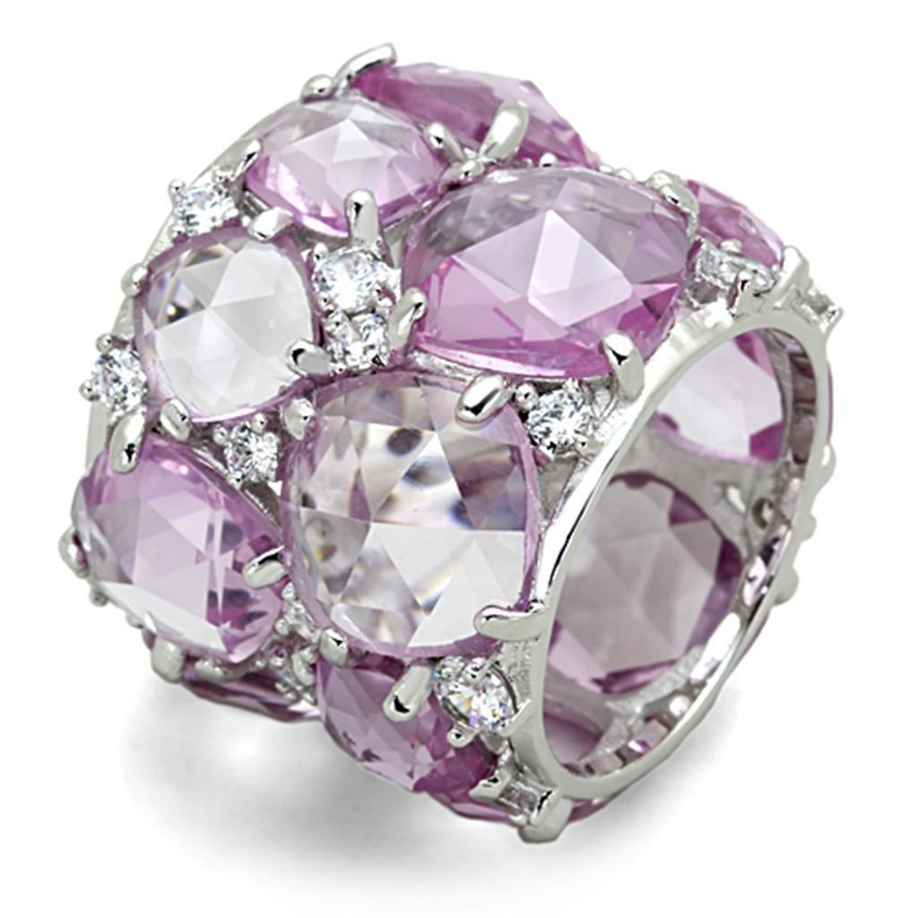 LOS768 Rhodium 925 Sterling Silver Corundum Light Rose Eternity Ring