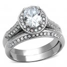 TK1W163 High polished Stainless Steel AAA Grade CZ Oval Ring