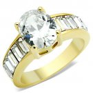 TK1675 IP Gold Stainless Steel AAA Grade CZ Oval Ring