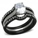 TK1344 Two-Tone IP Black Stainless Steel AAA Grade CZ Oval Ring