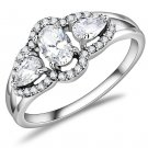 DA103 High polished Stainless Steel AAA Grade CZ Oval Ring