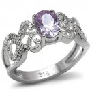 TK079 High polished Stainless Steel AAA Grade CZ Light Amethyst Oval Ring