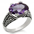 TK017 High polished Stainless Steel AAA Grade CZ Amethyst Oval Ring