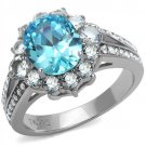 TK2977 High polished Stainless Steel AAA Grade CZ Sea Blue Oval Ring