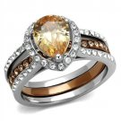 TK2961 Two Tone Light Brown (IP Light coffee) Stainless Steel AAA Grade CZ Champagne Pear Ring