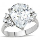 TK186 High polished Stainless Steel AAA Grade CZ Pear Ring