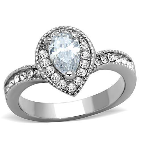 TK1759 High polished Stainless Steel AAA Grade CZ Pear Ring