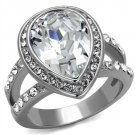 TK2504 High polished Stainless Steel Top Grade Crystal Clear Pear Ring