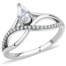 DA149 High polished Stainless Steel AAA Grade CZ Pear Ring