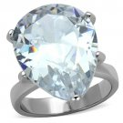 TK1750 High polished Stainless Steel AAA Grade CZ Pear Ring