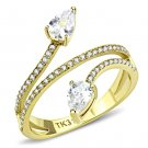DA171 IP Gold Stainless Steel AAA Grade CZ Pear Ring
