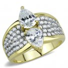 TK3442 Two-Tone IP Gold Stainless Steel AAA Grade CZ Pear Ring