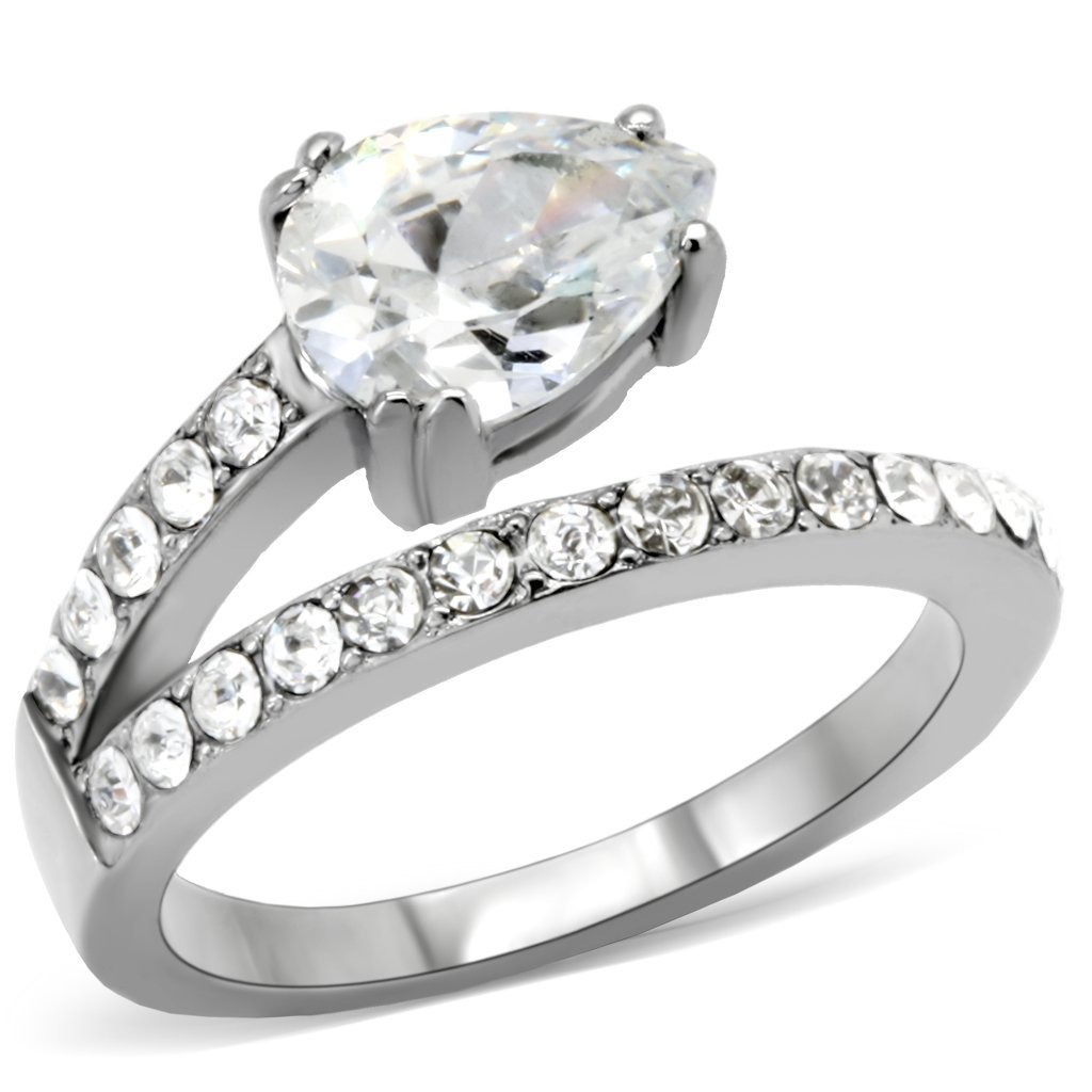 TK166 High polished Stainless Steel AAA Grade CZ Pear Ring