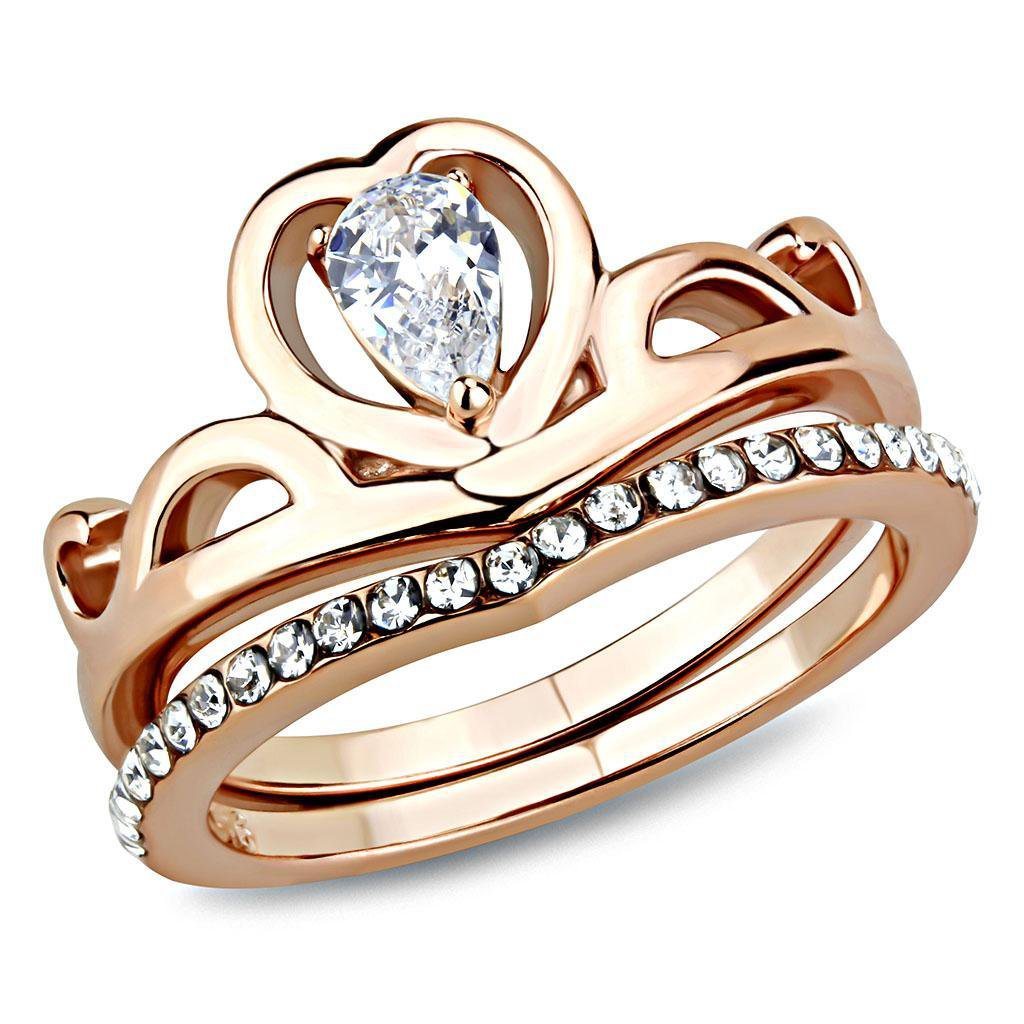TK3518 IP Rose Gold Stainless Steel AAA Grade CZ Pear Ring