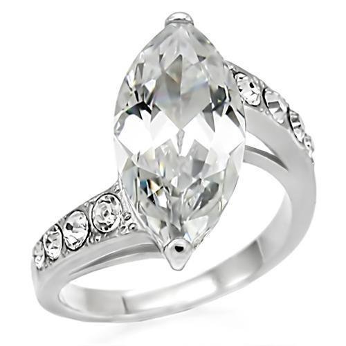 TK008 High polished Stainless Steel AAA Grade CZ Marquise Ring