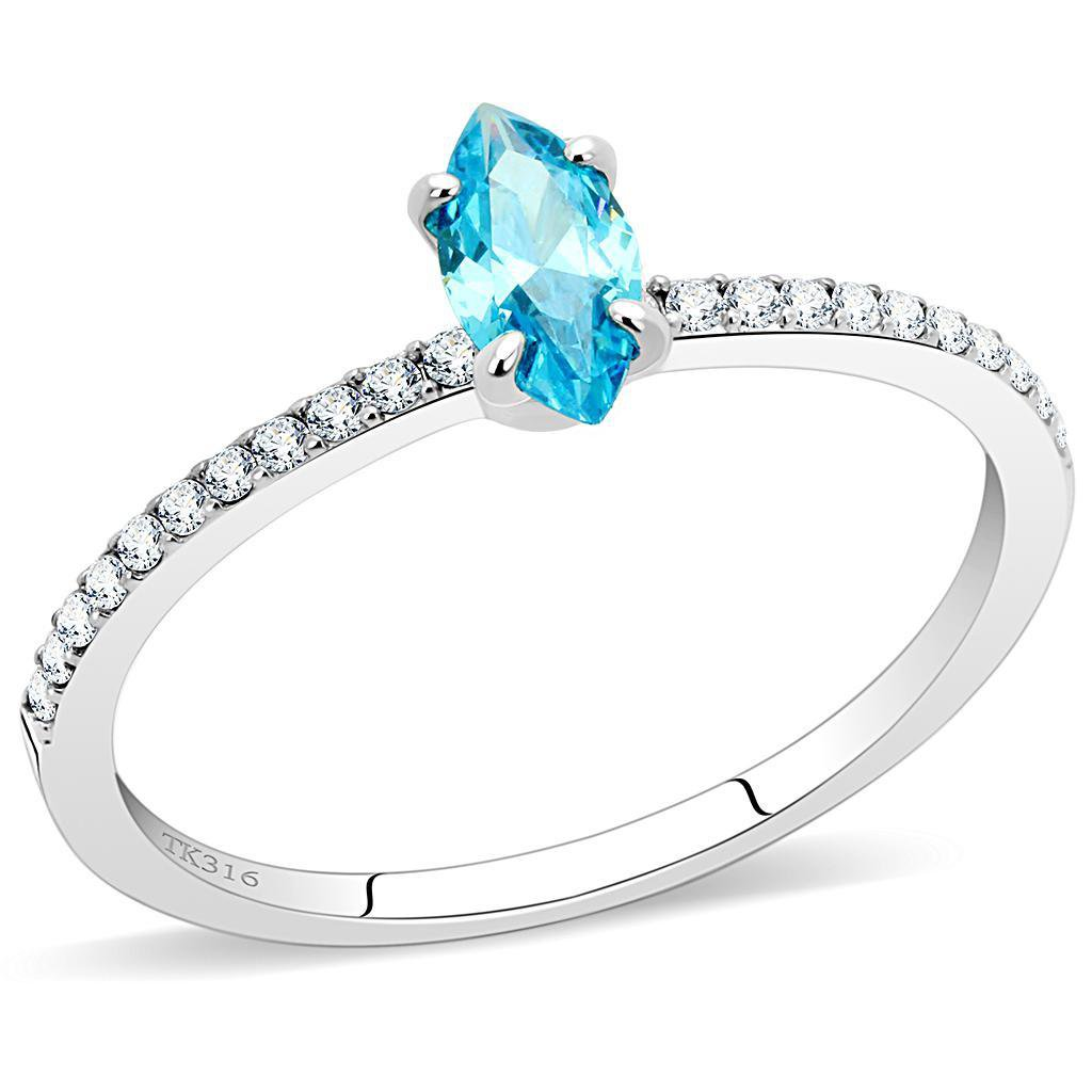 DA034 High polished Stainless Steel AAA Grade CZ Sea Blue Marquise Ring