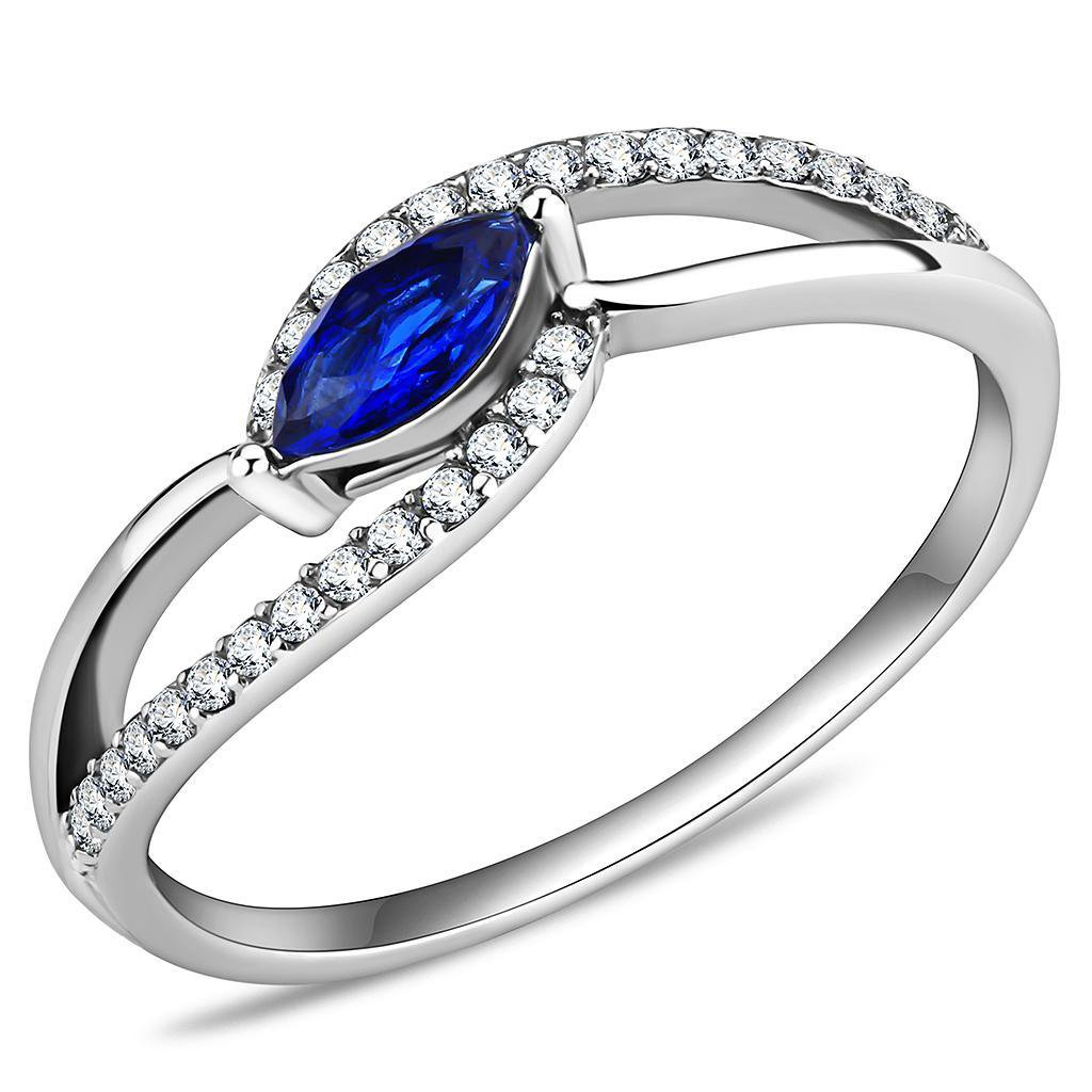 DA122  High polished Stainless Steel AAA Grade CZ London Blue Marquise Ring
