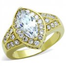 TK1896 IP Gold Stainless Steel AAA Grade CZ Marquise Ring