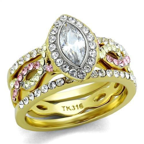 TK2129 Two-Tone IP Gold Stainless Steel AAA Grade CZ Marquise Ring