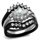 TK2188 Two-Tone IP Black Stainless Steel AAA Grade CZ Marquise Ring