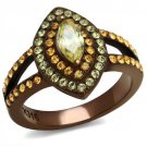 TK2838 IP Coffee light Stainless Steel AAA Grade CZ Citrine Yellow  Marquise Ring