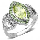 TK3579 Stainless Steel AAA Grade CZ Apple Green Marquise Ring