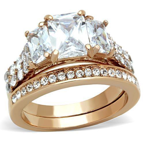 TK1690 IP Rose Gold Stainless Steel AAA Grade CZ Oblong Ring