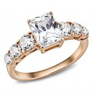 TK3517 IP Rose Gold Stainless Steel AAA Grade CZ Oblong Ring