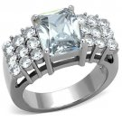 TK1753 High polished Stainless Steel AAA Grade CZ Clear Oblong Ring