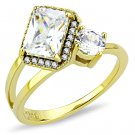 DA173 IP Gold Stainless Steel AAA Grade CZ Clear Oblong Ring