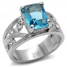 TK081 High polished Stainless Steel Synthetic Glass Sea Blue Oblong Ring