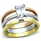 TK1279 Three Tone IP Gold & IP Rose Gold Stainless Steel AAA Grade CZ Clear Oblong Ring