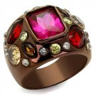 TK1790LC IP Coffee light Stainless Steel AAA Grade CZ Ruby Oblong Ring