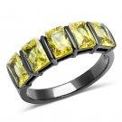 TK2683 IP Light Black Stainless Steel AAA Grade CZ Topaz Oblong Ring