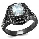 TK2731 IP Light Black Stainless Steel AAA Grade CZ Clear Oblong Ring