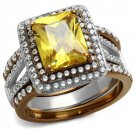 TK2962 Two Tone IP Light Brown (Light coffee) Stainless Steel AAA Grade CZ Topaz Oblong Ring