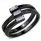 TK3455 IP Black Stainless Steel AAA Grade CZ Clear Oblong Ring