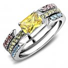 TK3526 High polished Stainless Steel AAA Grade CZ Topaz Oblong Ring