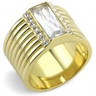 TK3581 IP Gold Stainless Steel AAA Grade CZ Clear Oblong Ring