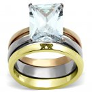 TK962 Three Tone IP Gold & IP Rose Gold High Polished Stainless Steel Ring AAA Grade CZ Oblong Ring