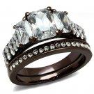 TK2646 IP Dark Brown (IP coffee) Stainless Steel AAA Grade CZ Oblong Ring