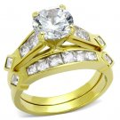 TK8X040 IP Stainless Steel AAA Grade CZ 14K Gold Ring