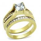 TK0W384 IP Gold Stainless Steel AAA Grade CZ (14K) Ring