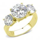 TK3672 IP Gold Stainless Steel AAA Grade CZ (14K) Ring