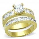 TK61206G IP Gold Stainless Steel AAA Grade CZ 14K Wedding Ring